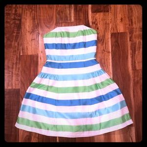 Lilly Pulitzer strapless silk dress. EUC